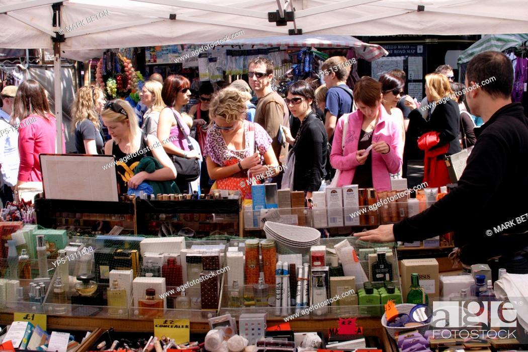 Stock Photo: Cosmetics stall Portobello Road Market Notting Hill London.