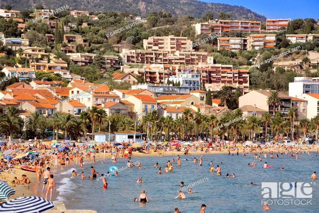 Stock Photo: France, Var, Corniche des Maures, Le Lavandou beach.
