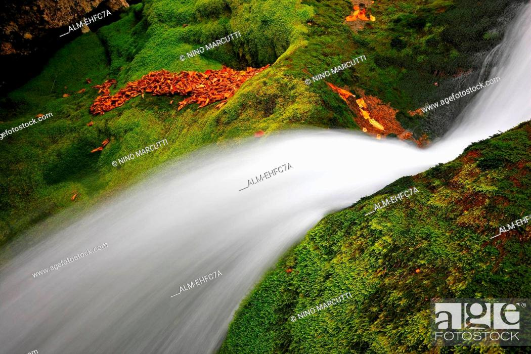 Stock Photo: White waterfall close up. River Soca Slovenia, Europe. Slovenia, Europe.