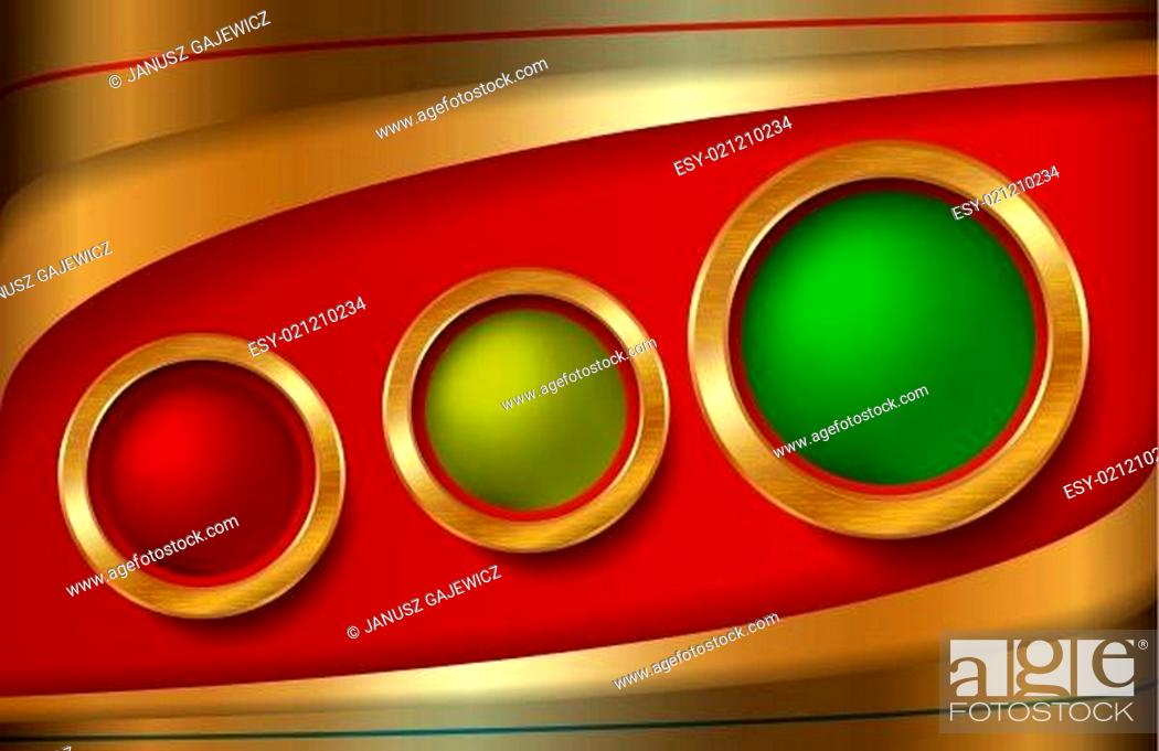 Stock Vector: Three, Circle, Metallic, Ring, Gold, Mesh, Gradient