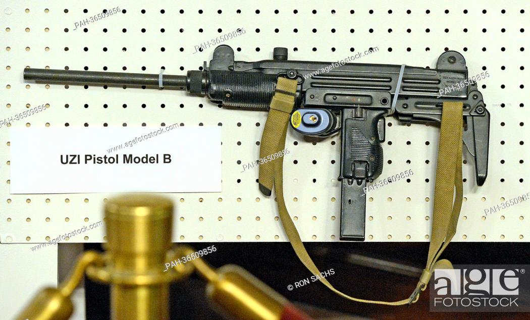 An UZI Pistol Model B displayed at the press conference held
