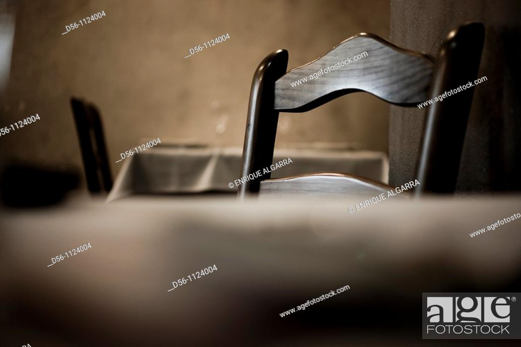 Stock Photo: Wooden chair in restaurant, Spain.