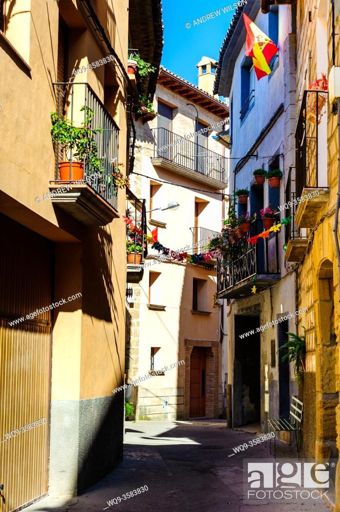 Stock Photo: a street in Adahuesca, Huesca, Aragon, Spain.