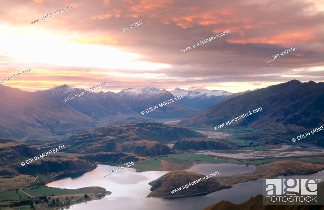 Stock Photo: Sunset over Lake Wanaka. Mt. Aspiring in distance from Mt. Roy. Central Otago. New Zealand.