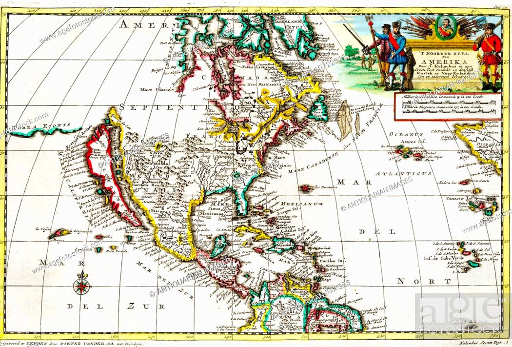 15th Century Map Of North America Showing The First Voyage