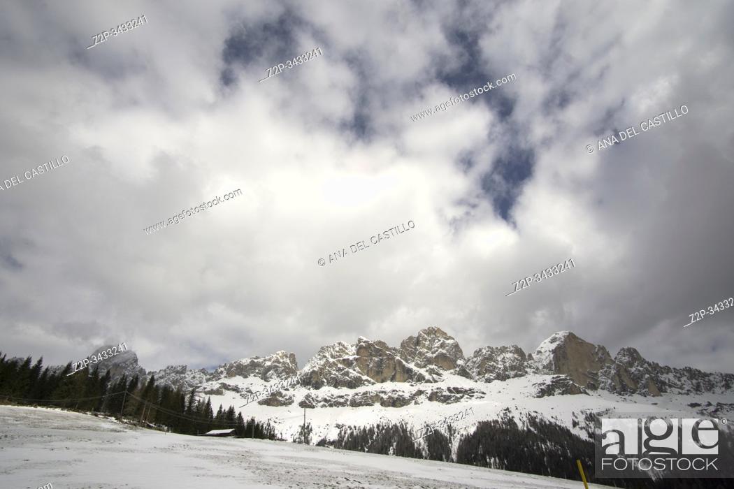Stock Photo: Snowy Dolomites mountains in Trentino Italy.