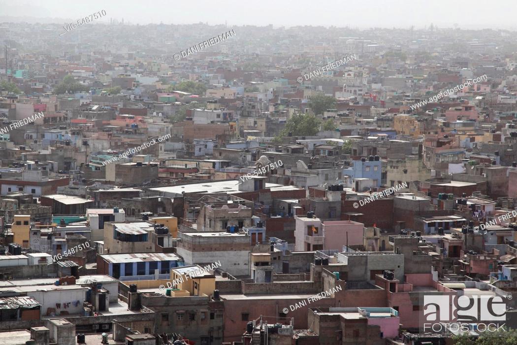 Stock Photo: Aerial view of a buildings in Old Delhi, India. - OLD DELHI, DELHI, INDIA, 10/07/2014.