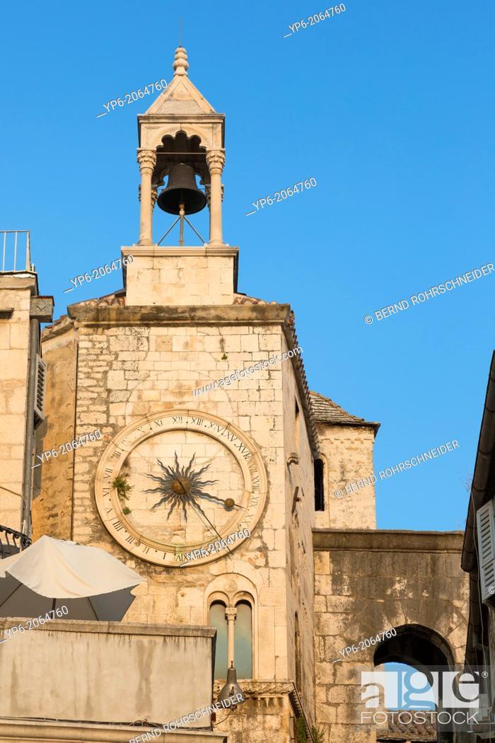 Stock Photo: clock tower in old town of Split, Croatia.