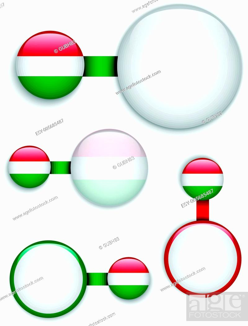 Stock Vector: Vector - Hungary Country Set of Banners.