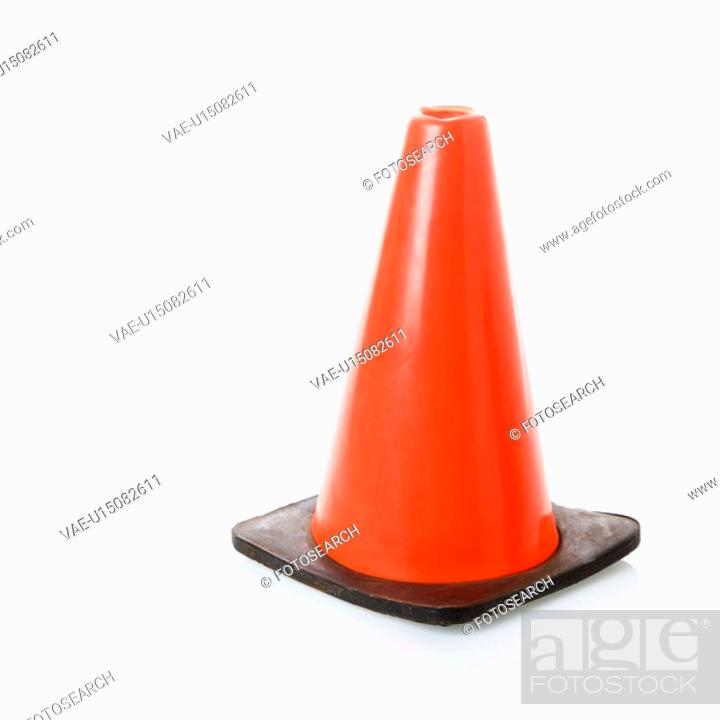Stock Photo: Orange traffic cone.