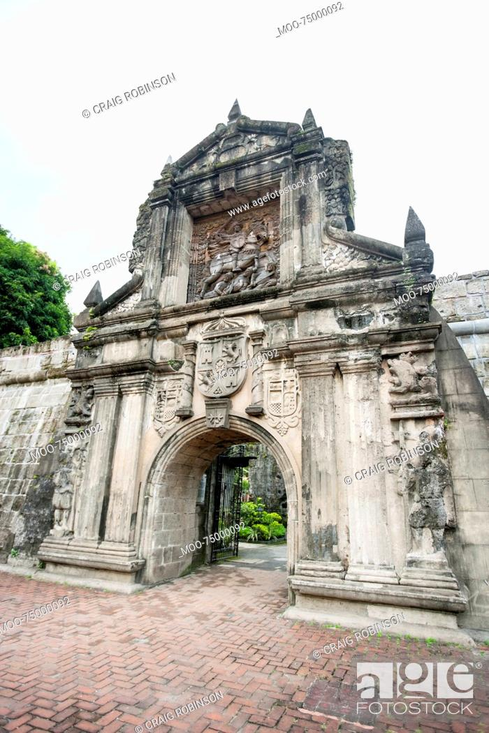 Stock Photo: Entrance to Fort Santiago in the Intramuros, Manila, Philippines.