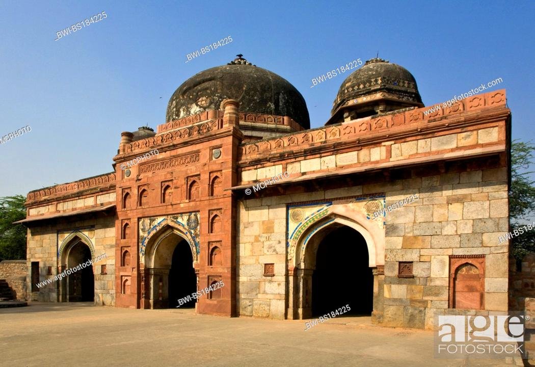 Stock Photo: The TOMB of ISA KHAN on the grounds of HUMAYUN'S TOMB is a fine example of LODI architechture, India, New Delhi.