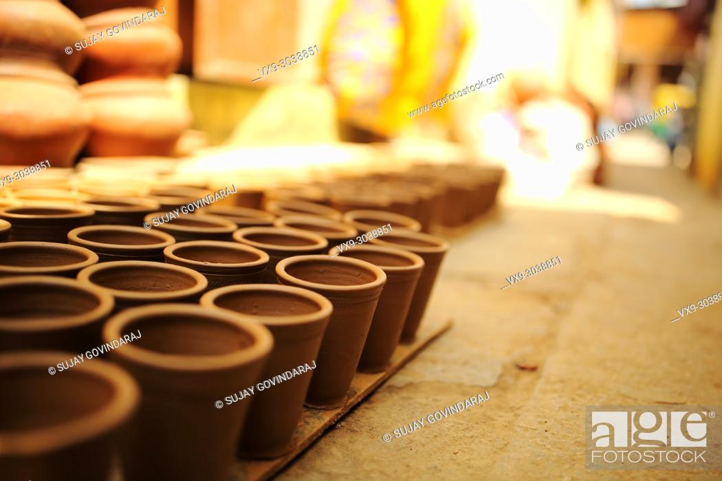 Stock Photo: Variety of earthenware made out of clay using traditional method.