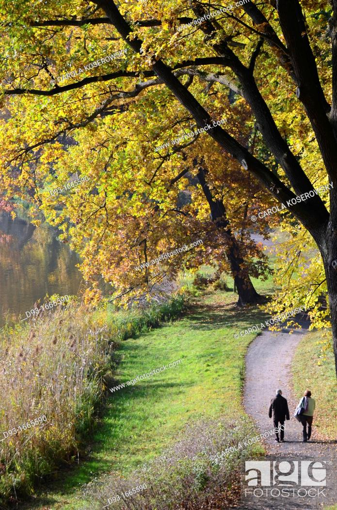 Stock Photo: autumn landscape with walking persons.