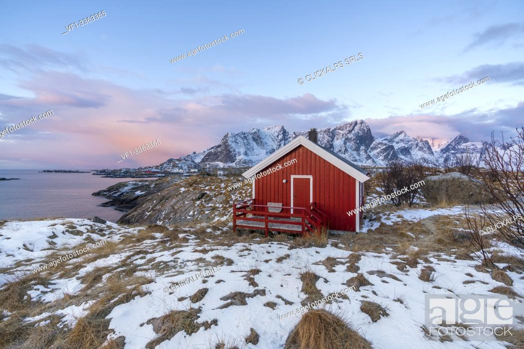 Stock Photo: Traditional fishermen house in winter at dawn. Hamnoy, Nordland county, Northern Norway, Norway.