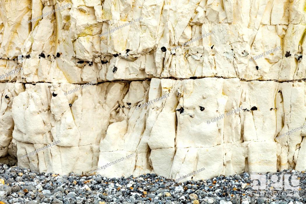 Stock Photo: Chalk Cliffs At Birling Gap, East Dean, Sussex, UK.