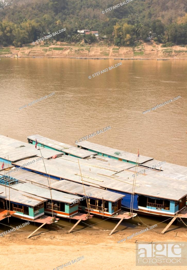 Stock Photo: Mekong passanger river boats, Luang Prabang, Laos.