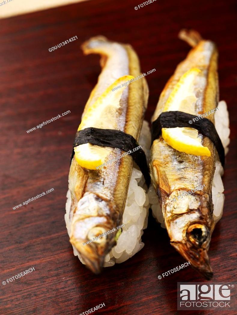 Stock Photo: capelin, plate, shishamo, decoration, food styling, food, sushi plate.