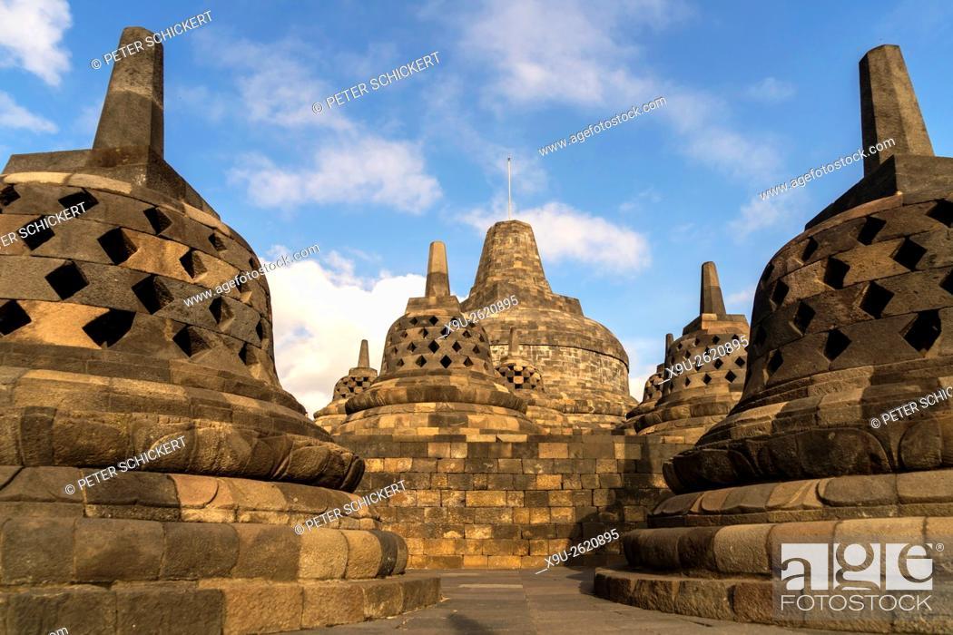 Stock Photo: stupas at the 9th-century Mahayana Buddhist Temple Borobudur near Yogyakarta, Central Java, Indonesia, Asia.