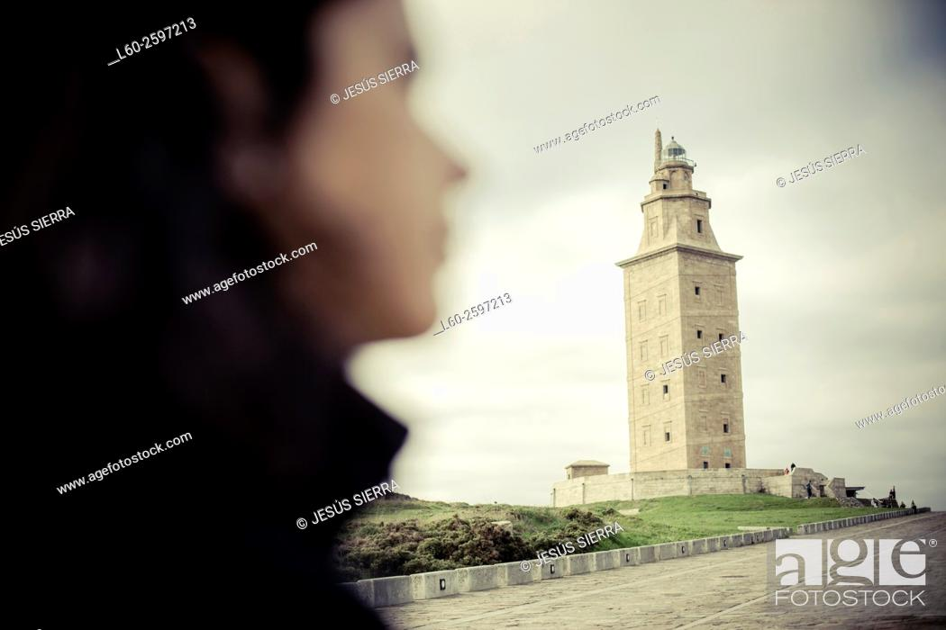 Stock Photo: Torre de Hercules, Tower of Hercules, A Coruna, Spain, Europe.