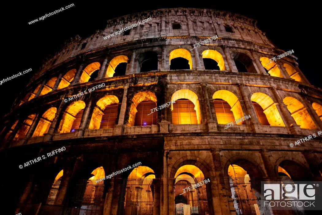 Stock Photo: The Colosseum at night, Rome, Italy.