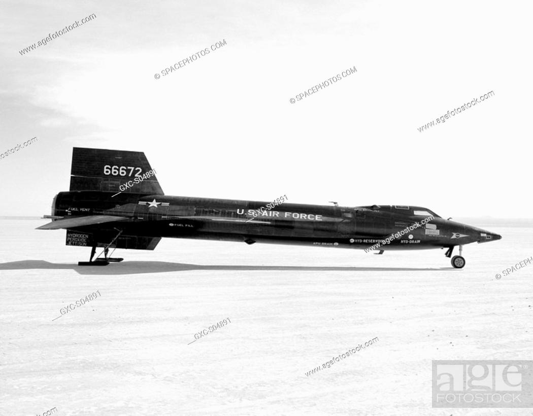 Stock Photo: The X-15 ship 3 56-6672 is seen here on the lakebed at the Edwards Air Force Base, Edwards, California. Ship 3 made 65 flights during the program.