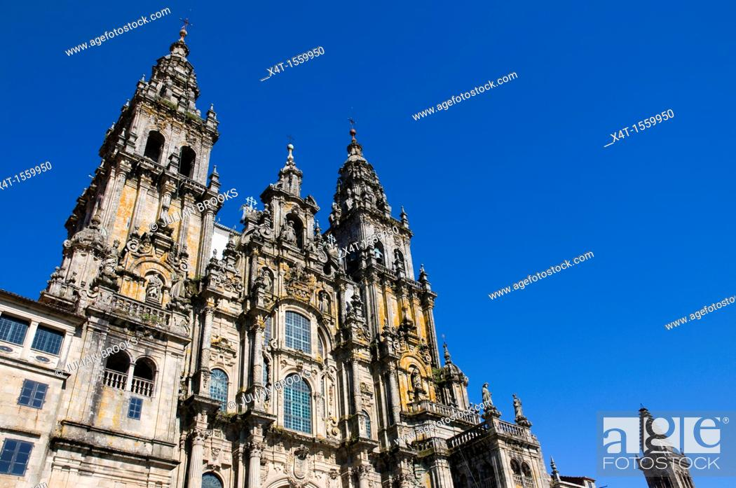 Stock Photo: extreme wide angle looking up at the front of the cathedral  Santiage de Compostela, Spain.