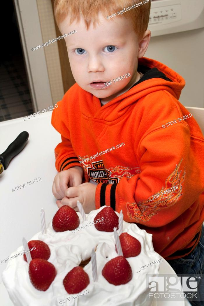 Tremendous Boy Age 3 Inspecting A Strawberry Topped Birthday Cake Clitherall Funny Birthday Cards Online Chimdamsfinfo