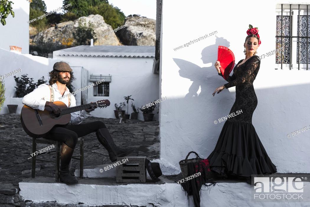 Stock Photo: Spanish couple dressed in flamenco style. Facinas, Tarifa, Cadiz, Andalusia, Southern Spain.