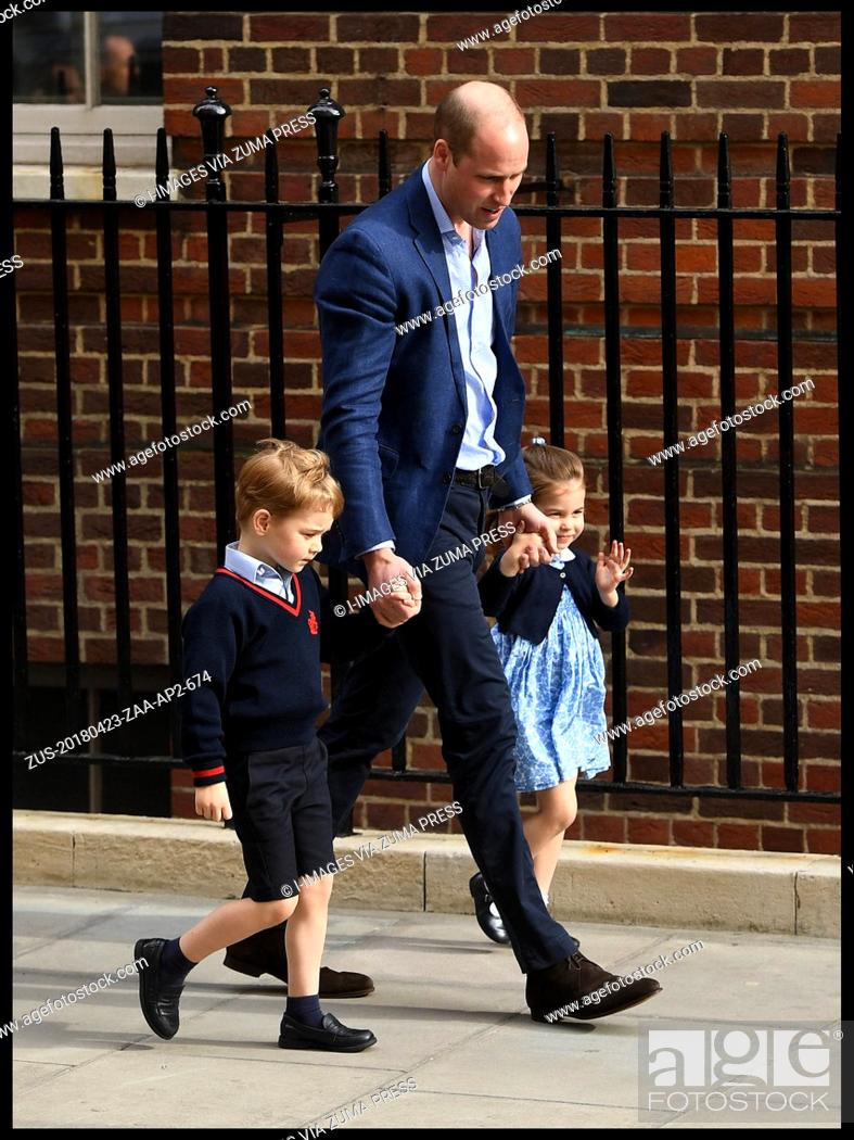Imagen: April 23, 2018 - London, London, United Kingdom - Duke and Duchess of Cambridge- New Baby. Prince William brings Prince George and Princess Charlotte to see.