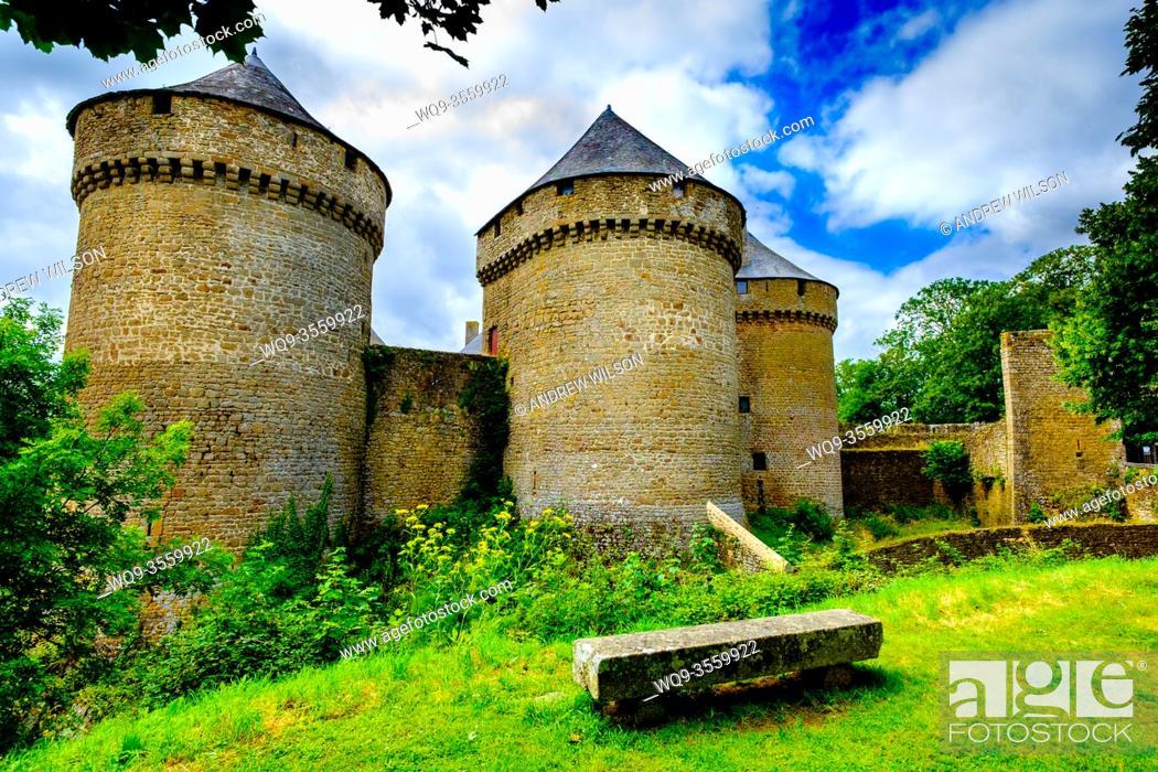Stock Photo: The chateau in Lassay-les-Chateau, Mayenne, Pays de Loire, France.