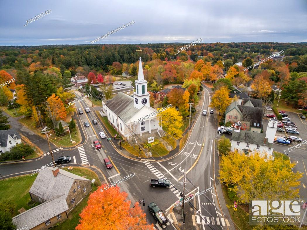 Stock Photo: Aerial view of the town of Wiscasset, Maine.