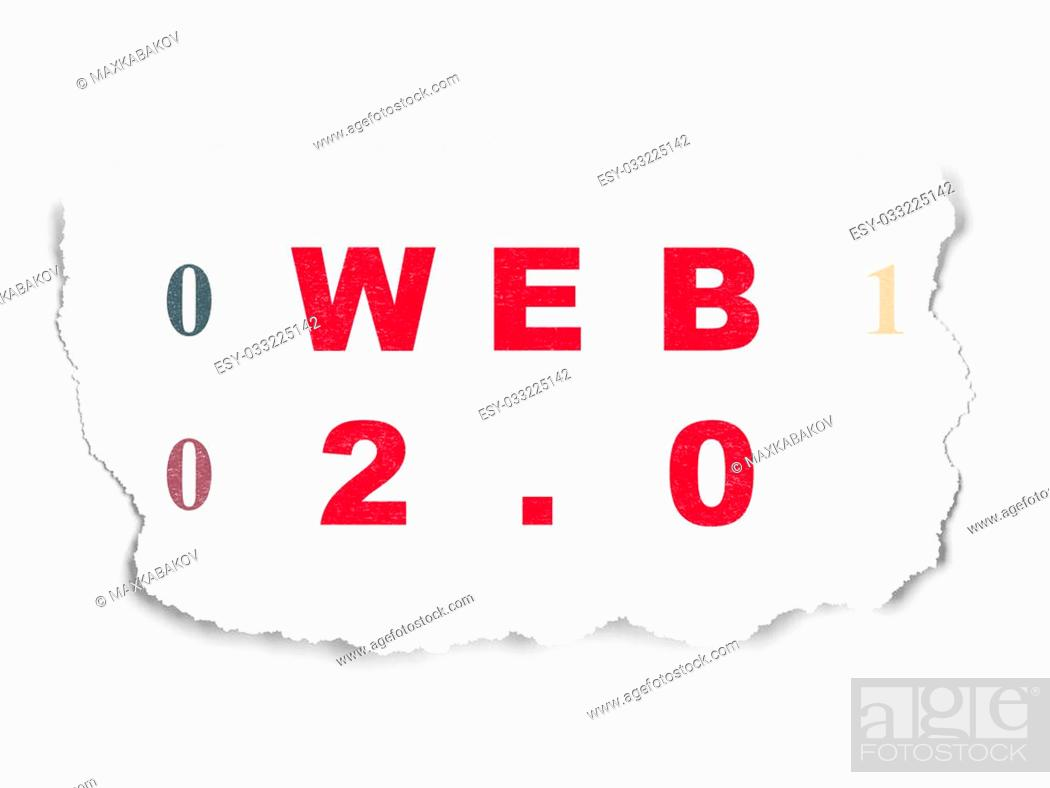 Stock Photo: Web development concept: Painted red text Web 2.0 on Torn Paper background with Binary Code.