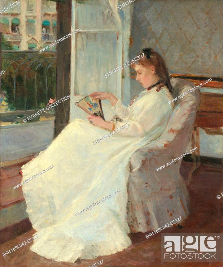 Stock Photo: Artist's Sister at a Window, by Berthe Morisot, 1869, French impressionist painting, oil on canvas. Morisot painted many domestic interiors.