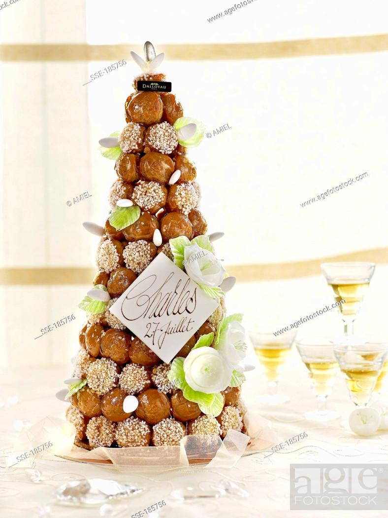 French Wedding Cake.French Wedding Cake Dalloyau Creation Stock Photo Picture And