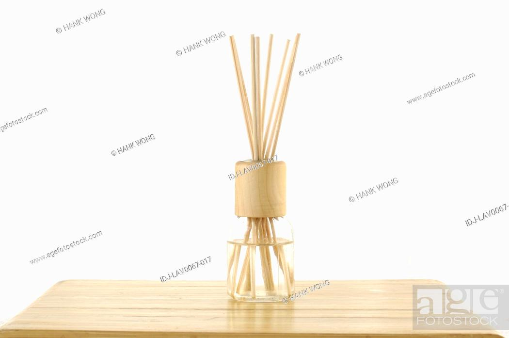 Stock Photo: Close-up of sticks in a bottle in spa.