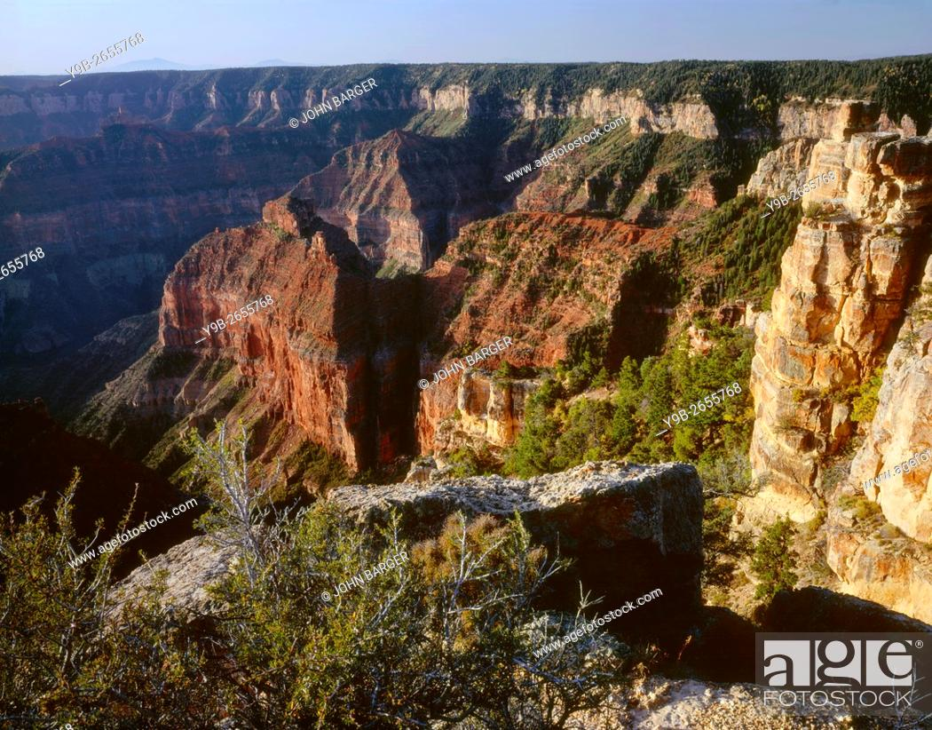 Stock Photo: USA, Arizona, Grand Canyon National Park, North Rim, View south from Point Imperial towards canyon depths and flat topped Walhalla Plateau.