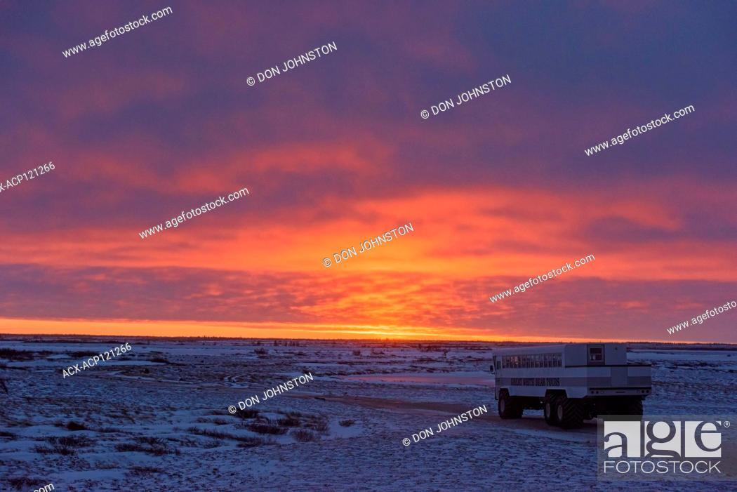 Stock Photo: Sunset skies over Hudson Bay at freeze-up.