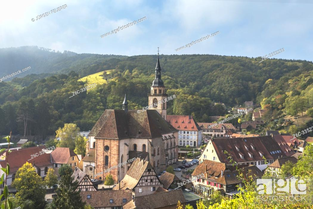 Stock Photo: village Andlau from above, Alsace Wine Route, France, ancient monastery at the foothills of the Vosges mountains.