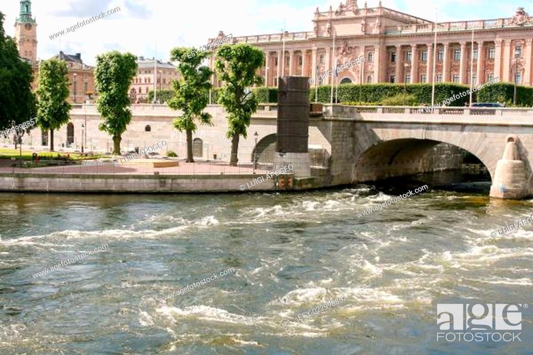 Stock Photo: Bridge in stockholm.