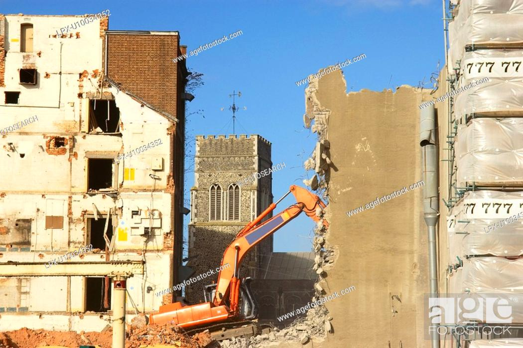 Stock Photo: Building under demolition for a new property development.