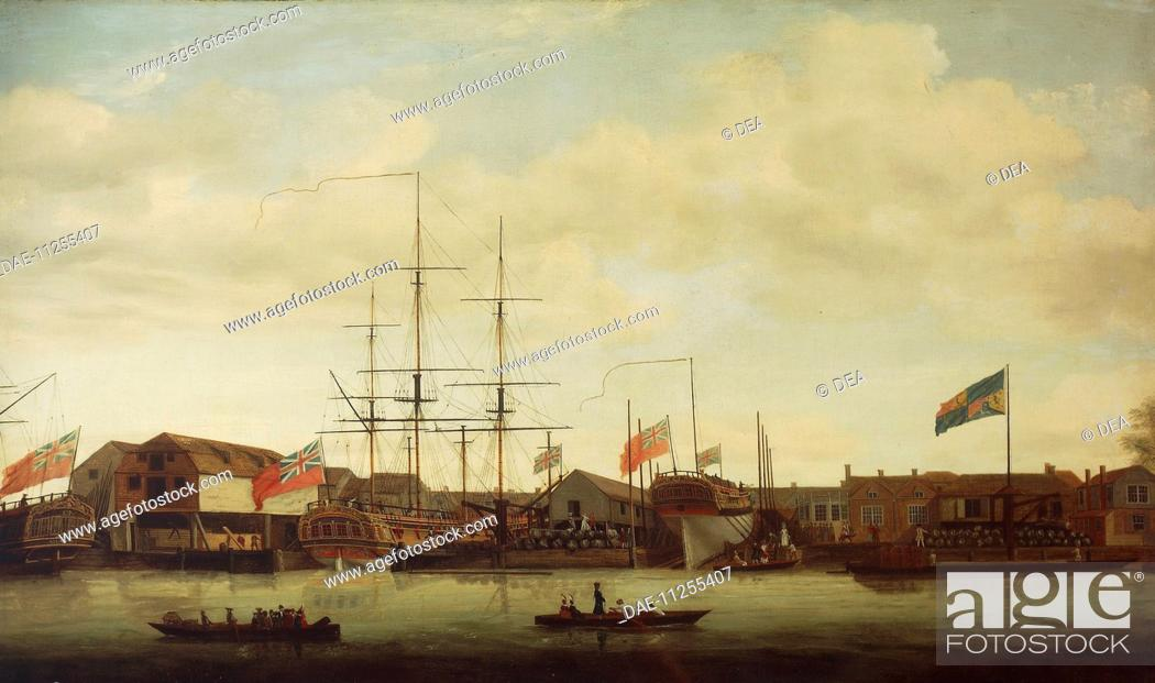 Stock Photo: United Kingdom, 18th century. London, small shipyard on the Thames.  London-Greenwich, National Maritime Museum.