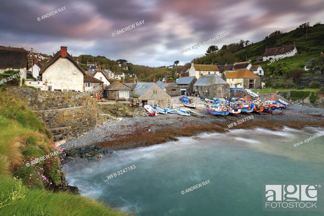 Stock Photo: The picturesque fishing cove at Cadgwith on Cornwall's Lizard Peninsula, captured from the Todden on a morning in early May.
