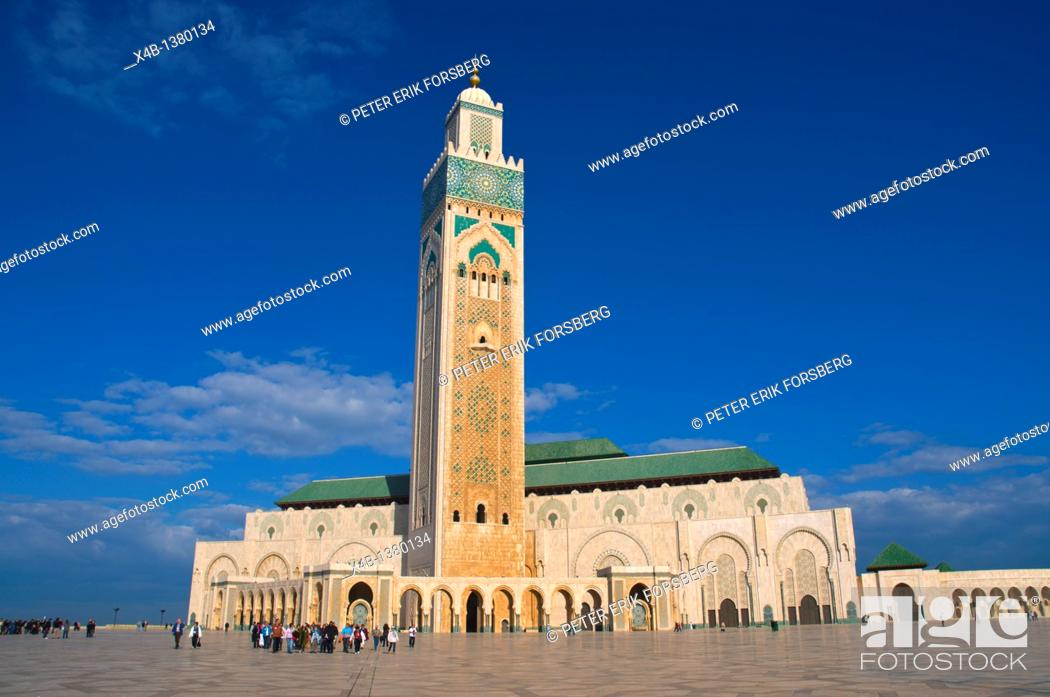 Stock Photo: Hassan II mosque by Michel Pinseau 1993 Casablanca central Morocco northern Africa.