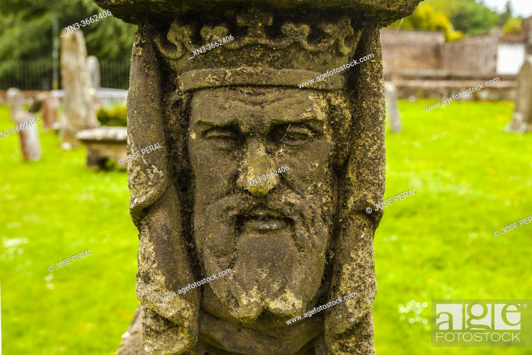 Stock Photo: Tombs, churchyard, St Mary's Abbey, Melrose Abbey, ruined monastery of the Cistercian order, Melrose, Scottish Borders, Scotland, United Kingdom, Europe.