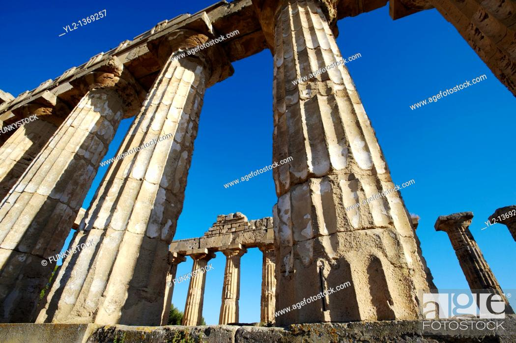 Stock Photo: Greek Dorik columns at the ruins of Temple at Selinunte, Sicily.