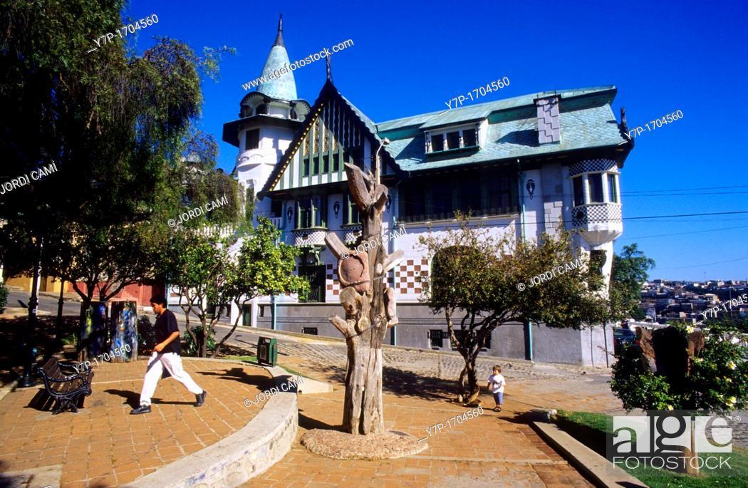 Stock Photo: Barburizza palace, built in 1916 by Barison & Schiavon  Cerro Alegre  Valparaiso  Chile.