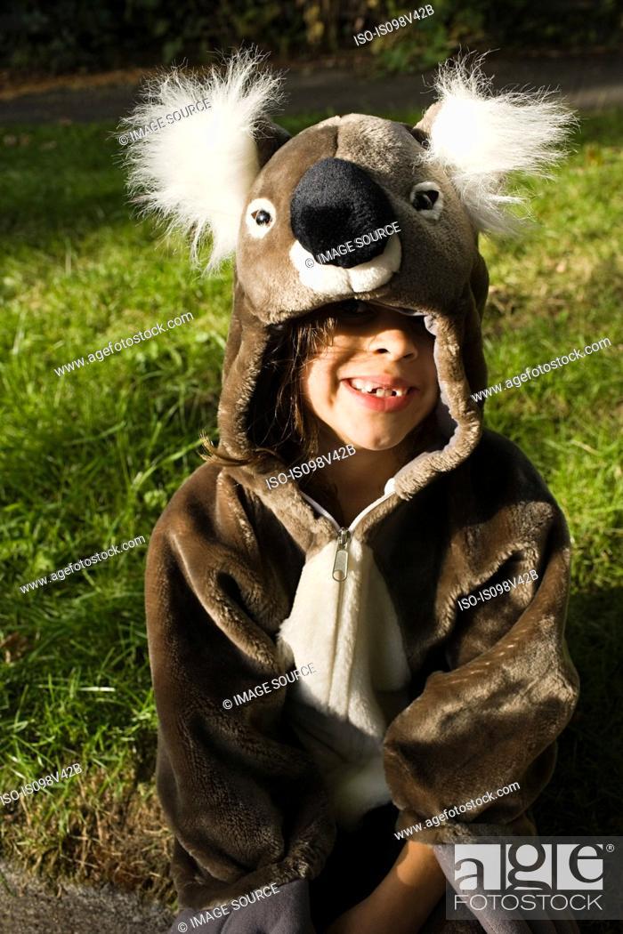 Stock Photo: Girls dressed as koala.
