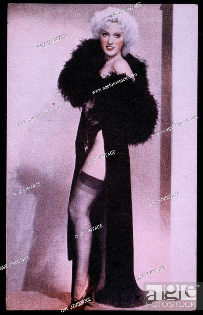 Woman in Sexy Robe and Nylon Stockings, Pin up Card, 1940's