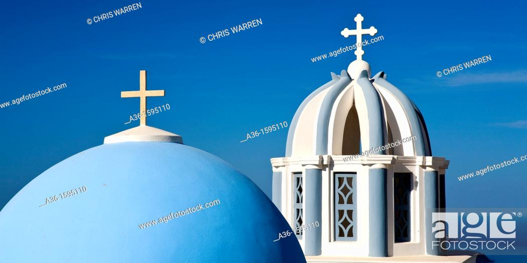 Stock Photo: Church Dome and Bell Tower Firostefani Santorini Cyclades Islands Greece.